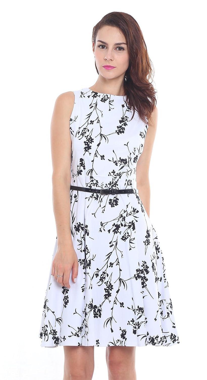 Damen 50s Retro Vintage Rockabilly Kleid Hepburn Stil Rundausschnitt ...