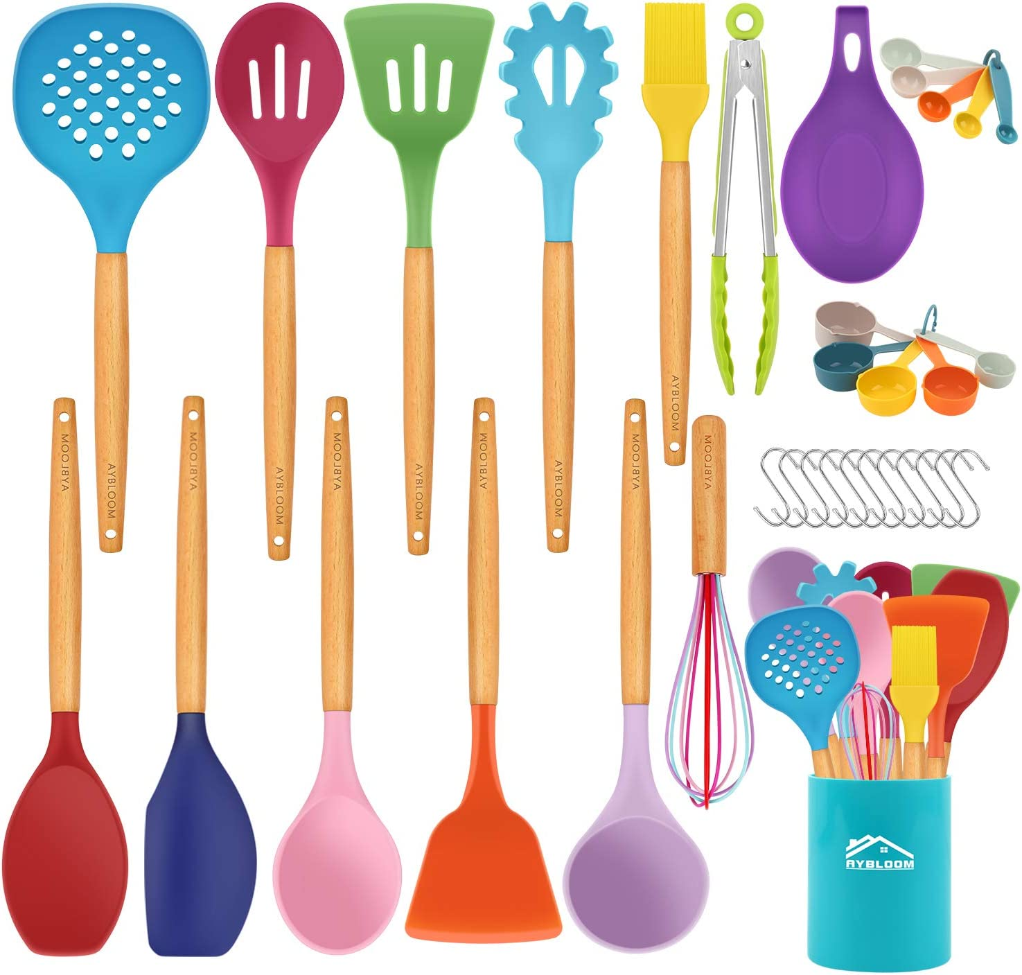 Heat Resistant Silicone Kitchen Gadgets Utensil with Stainless Steel Handle AIKKIL 26 pcs Non-stick Silicone Kitchen Utensils Spatula Set with Holder Kitchen Cooking Utensils Set Khaki