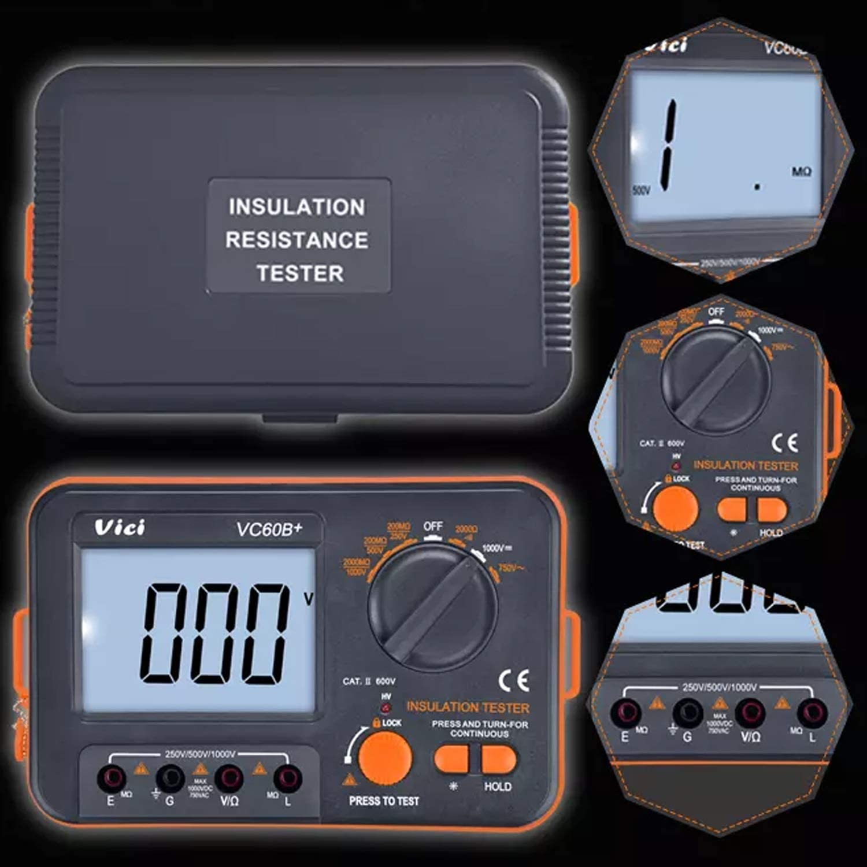 LIANGANAN Digital Insulation Resistance Tester VC60B Insulation Testing Machine mega oh Meter 250 V 500 V 1000 V high Voltage and Short Circuit Input Alarm Digital Tester Multifunctional Tools
