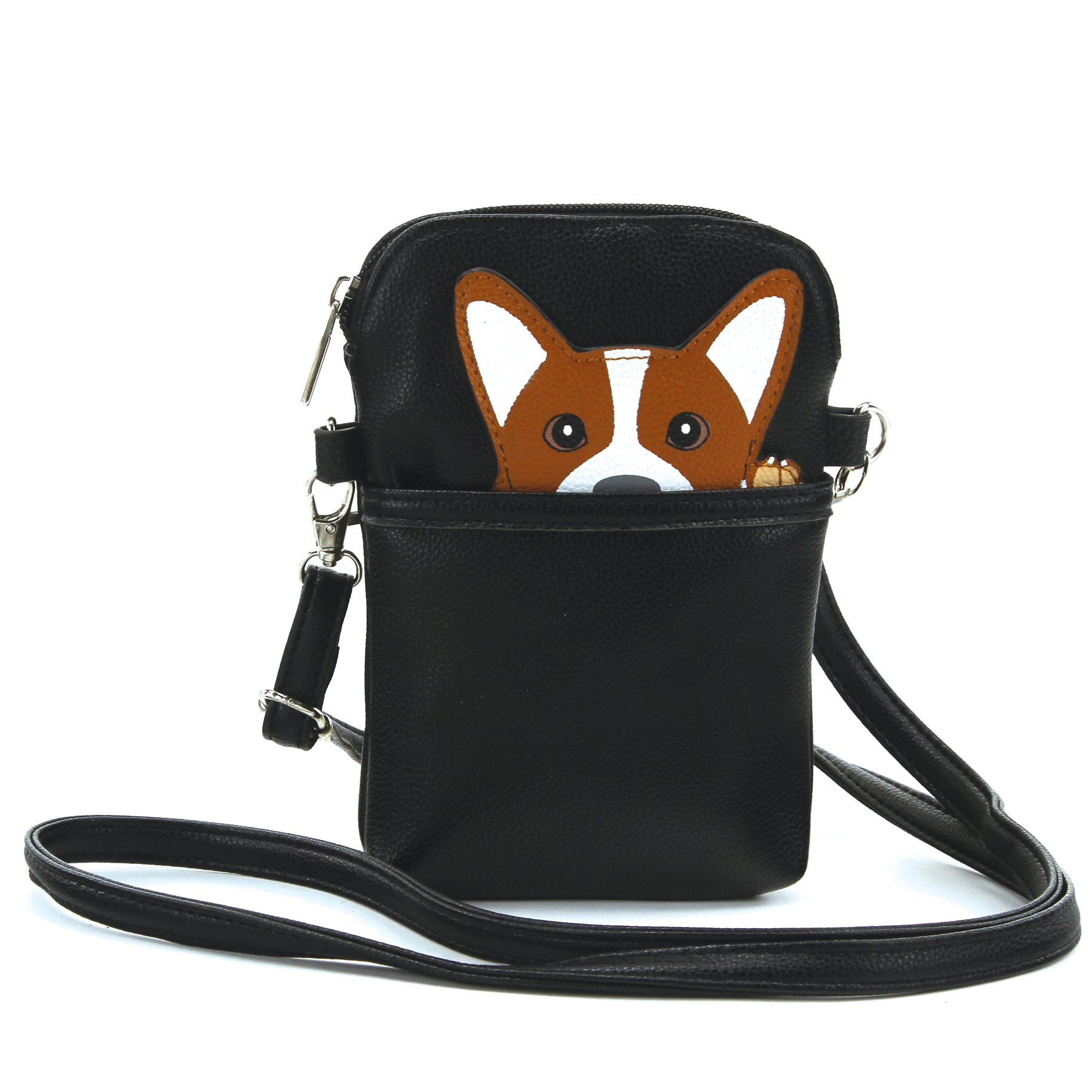 Sleepyville Critters - Peeking Corgi Small Shoulder Bag in Vinyl Material