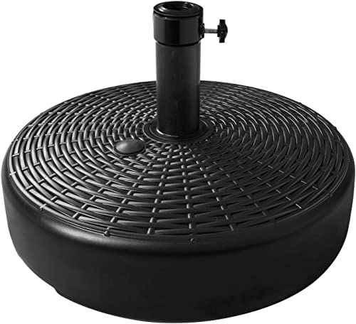 Flexzion Patio Umbrella Base Weighted Plastic Stand, Outdoor Parasol Stand Umbrella Holder Diameter Adapters Water Sand Filled 23L Round 20 50lb-80lb