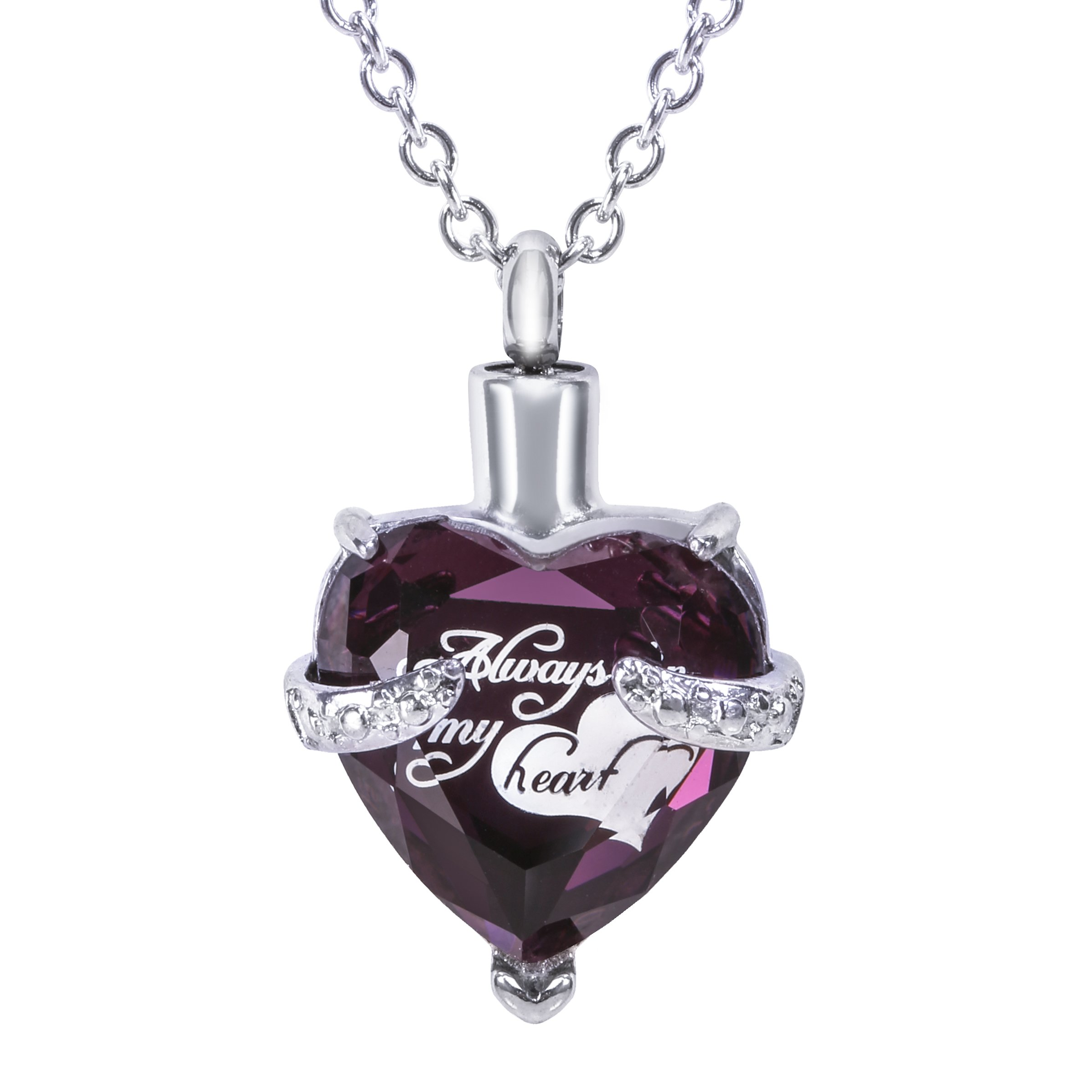 SmartChoice Keepsake Rhinestone Necklace Heart Pendant for Cremation Ashes with Beautiful Presentation Gift Box, Elegant Memorial Jewelry with Stainless Chain and Accessories, Purple