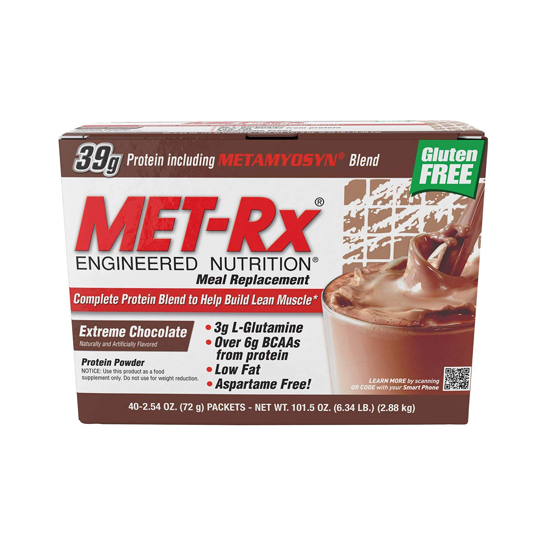 MET-Rx Original Whey Protein Powder, Great for Meal Replacement Shakes, Low Carb, Gluten Free, Extreme Chocolate, 2.54 oz. Packets, 40 Count by MET-Rx