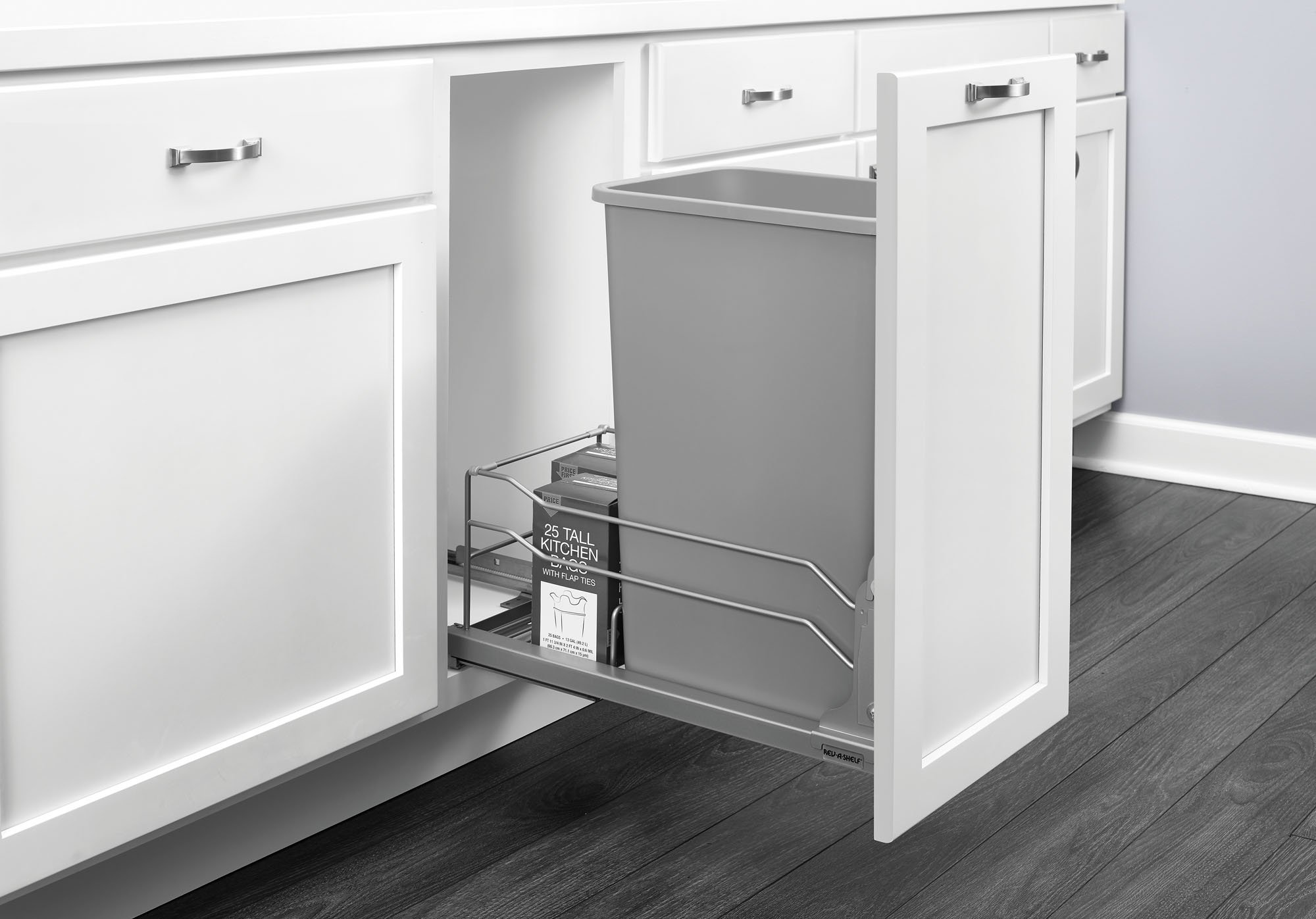 Rev-A-Shelf - 53WC-1550SCDM-117 - Single 50 Qt. Pull-Out Silver Waste Container with Soft-Close Slides by Rev-A-Shelf