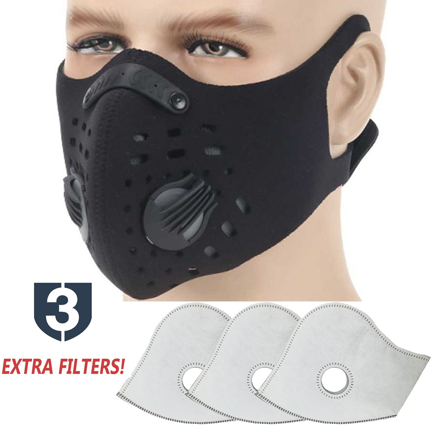 Dust Mask, Moho Upgrade Version Activated Carbon Dustproof Mask Windproof Foggy Haze Anti-Dust Mask Motorcycle Bicycle Cycling Ski Half Face Mask for Outdoor Activities (Black+3 Extra Filters)
