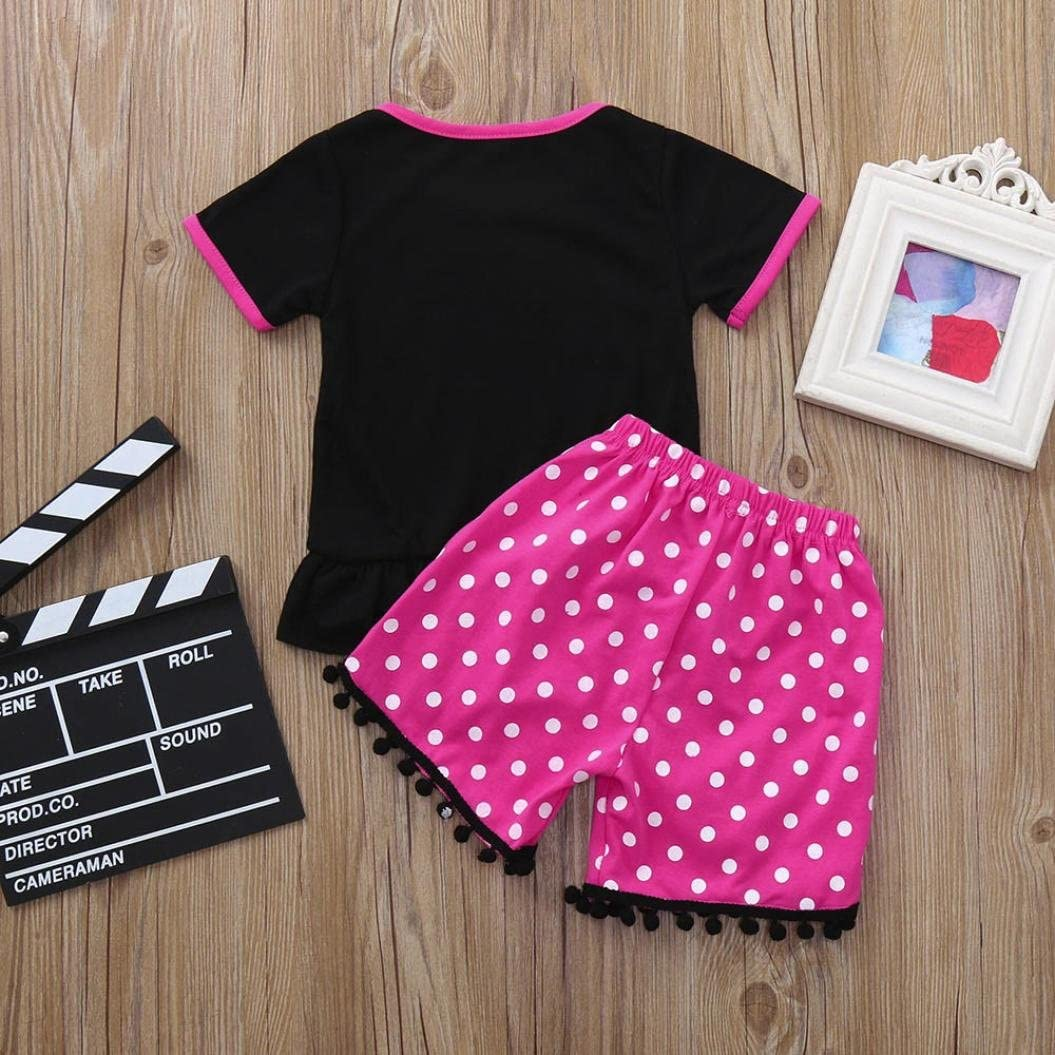 KONFA Toddler Baby Girls Short Sleeve Letter T-Shirt+Tassels Shorts,Little Princess 2Pcs Outfits Clothing Sets