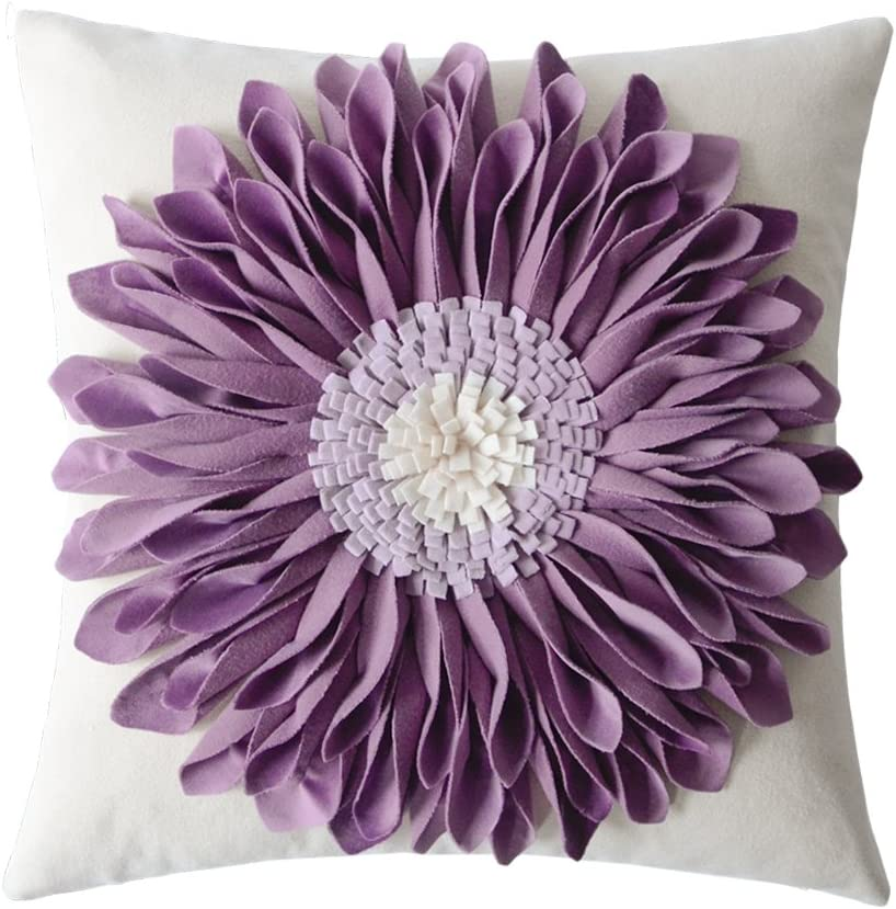 Amazon Com Oiseauvoler Decorative 3d Flower Throw Pillow Covers Cushion Cases Handmade Square Home Sofa Bed Room Farmhouse Decor 18 X 18 Inch Purple Home Kitchen