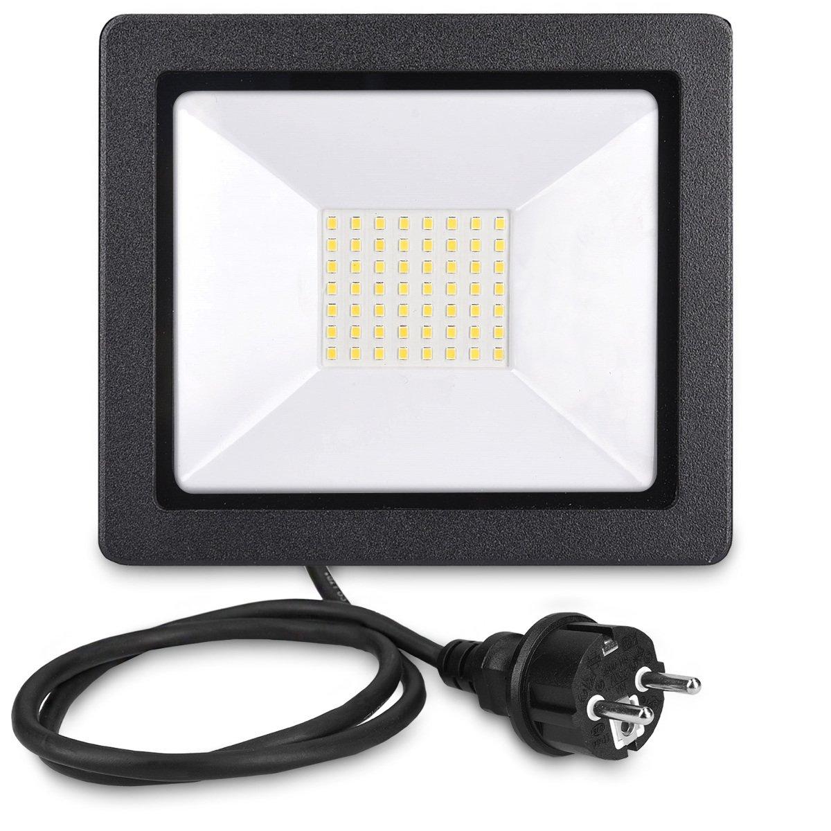 Reflector de 1600 l/úmenes para jard/ín garaje Set de 2 l/ámparas LED para interior y exterior kwmobile 2x Foco proyector LED de exteriores de 20W