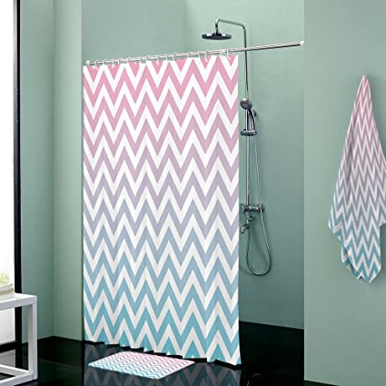 Waterproof Gradient Wave Stripe Blue Pink Bathroom Shower Curtain With Mats Rugs Bath Accessory Set