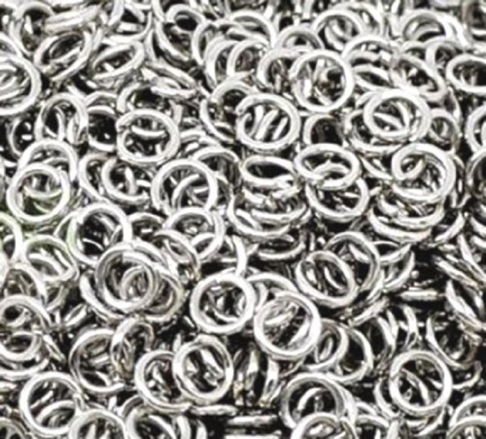 100 6mm silver plated jump rings Libbyshouse hnb23
