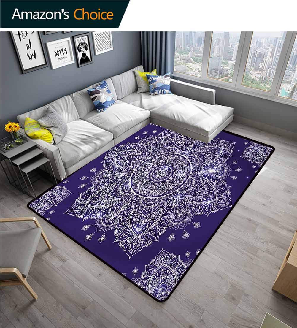TableCoversHome Abstract Area Rug for Bedroom, Floral Ornament Tribal Round Paisley Inspired Retro Style Fashionable High Class Living Dinning Room, (4'x 6') Lavender Blue Indigo by TableCoversHome