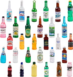 ONEST 30 Pieces Miniature Food Drinks Bottles Dollhouse Play Food Kitchen Play Game Party Toys Doll Toys Dollhouse Toys, Drinks