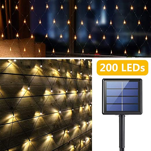 Red de Luz LED Solar Exteriores, 200 LEDs Luces de Cortinas, 3M x 2M Impermeable Luces