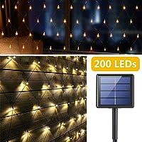 Red de Luz LED Solar Exteriores, 200 LEDs