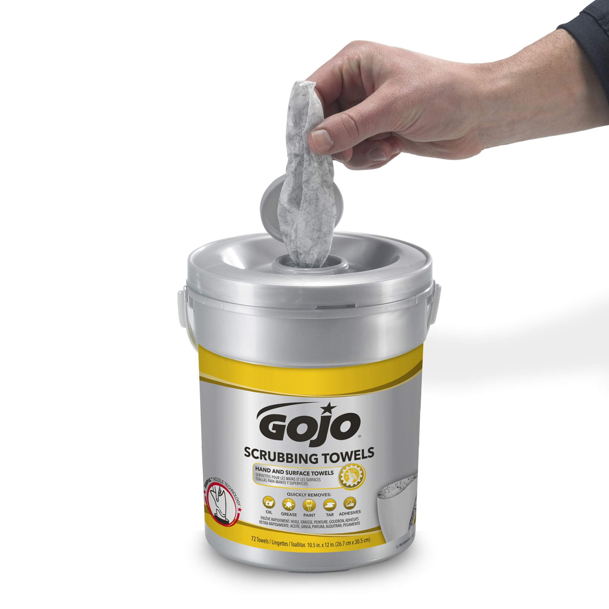 GOJO Hand and Surface Scrubbing Towels - Fresh Citrus Scent, 72 Count Heavy Duty Scrubbing Towels Canister (Case of 6) - 6396-06 by Gojo (Image #6)