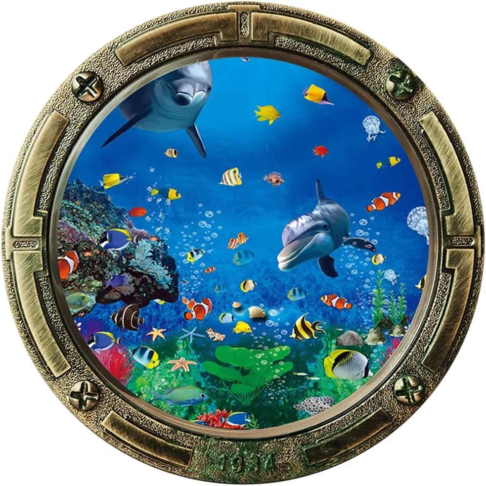 3D Porthole Dolphins Fish Window Wall Sticker| Removable Fake Submarine Window Wall Vinyl Decal| Undersea Peel and Stick Mural for Bedroom Living Room and Nursery Decoration (17