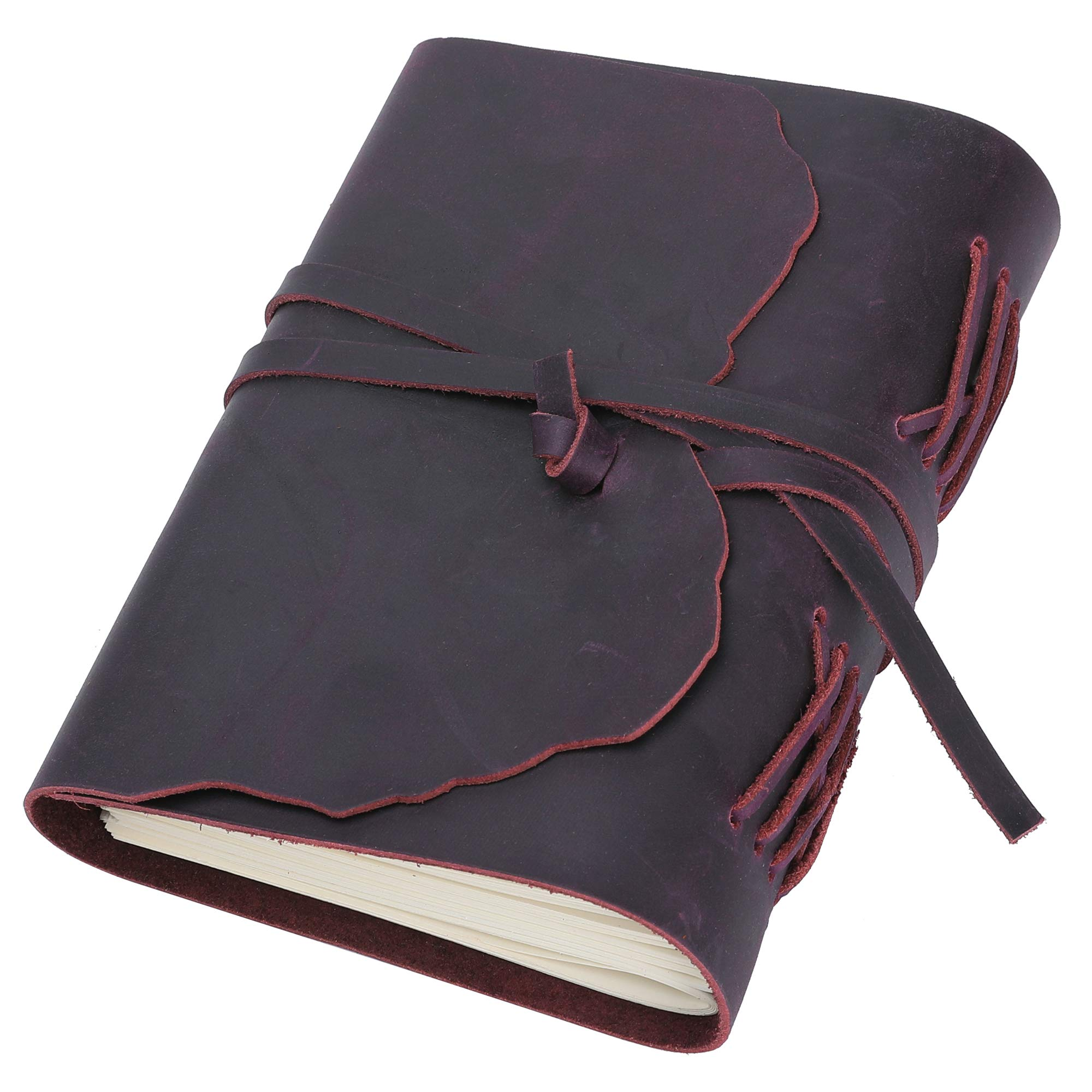 Jagucho Leather Journal Writing Notebook for Men Women, Refillable Lined Pages, Travel Diary Bound Journals Cover, Antique Vintage Books for Writers, Poets (Dark purple 2)
