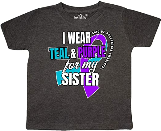 inktastic Suicide Prevention I Wear Teal and Purple for My Meemaw Baby T-Shirt