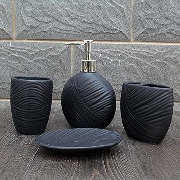 HTST Keramik Badezimmer Vier Stücke Gesetzt Einfach Badezimmer Sets Schwarz  Weiß Braun