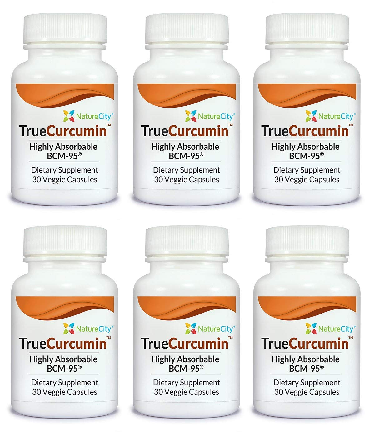 TrueCurcumin Supplement with Essential Turmeric Oil - Highly Absorbable BCM-95-30 Veggie Capsules - 6 Pack