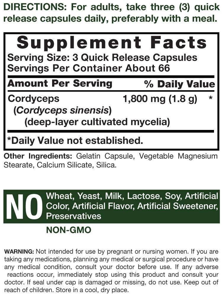 Cordyceps Capsules | 1800mg | 200 Count | Non-GMO Mushroom Supplement | Cordyceps Sinesis | by Horbaach