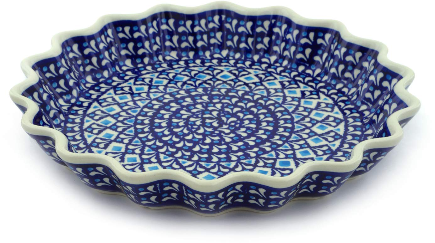 Polish Pottery 10½-inch Fluted Pie Dish (Blue Diamond Theme) + Certificate of Authenticity