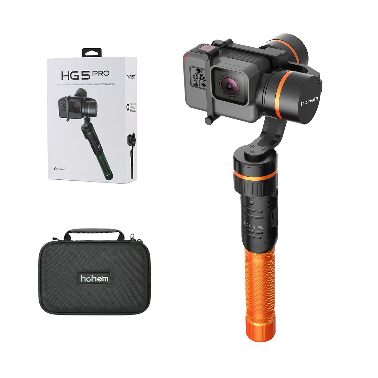 Gimbal Stabilizer, Hohem HG5 Updated 3-Axis Portable Gimbal Stabilizer for Gopro Hero5/4 and Action Cameras with Similar Dimensions (Orange) by Hohem