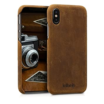 kalibri Funda para Apple iPhone X - Carcasa Protectora de Cuero para móvil - Cover Trasero en marrón