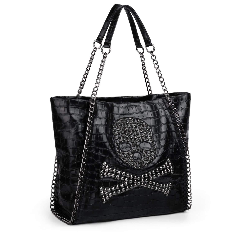 UTO dam Skull Shopper Bag PU tvättat läder nit dubded kvinna handväska axelväska Svart 29