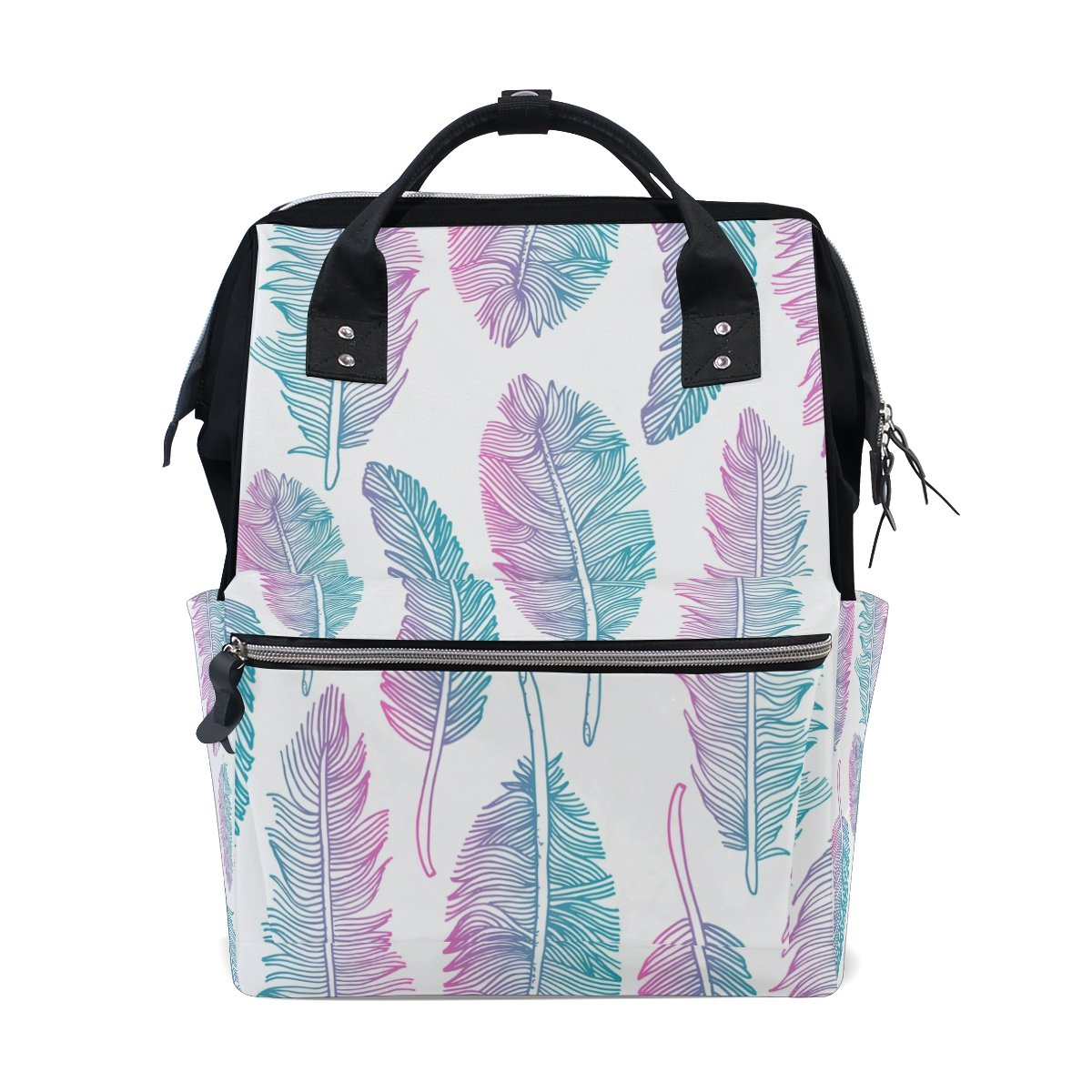 Diaper Bag Multi Functional Stylish Art Peacock Feathers Large Capacity Nappy Bags for Baby Care Mummy Backpack Durable Travel Backpack
