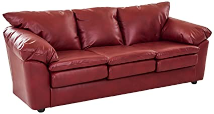 Fabulous Ravenna Home Darian Oversized Pillow Faux Leather Sofa 92W Red Gamerscity Chair Design For Home Gamerscityorg