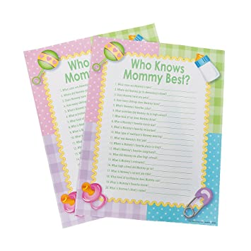 Amazon Who Knows Mommy Best Baby Shower Games 24 Sheets