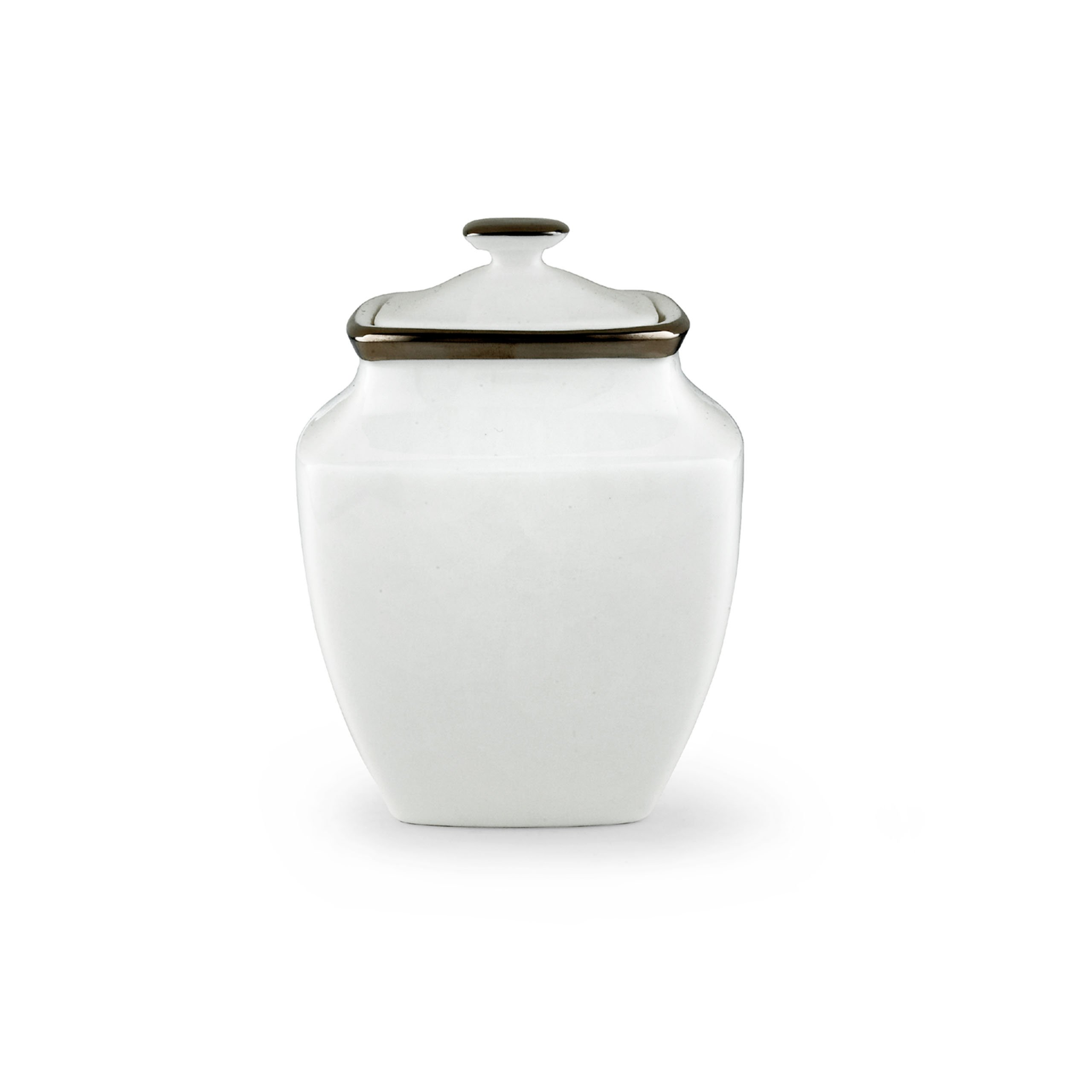 Lenox Solitaire White Square Sugar Bowl with Lid