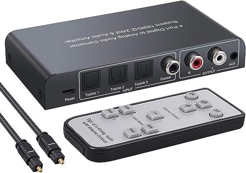 PROZOR 192kHz DAC Konverter mit Lautst/ärkeregler Digital zu Analog Konverter Digital Koaxial SPDIF Toslink zu Analog Stereo L// R RCA 3.5 mm Jack Audio Adapter