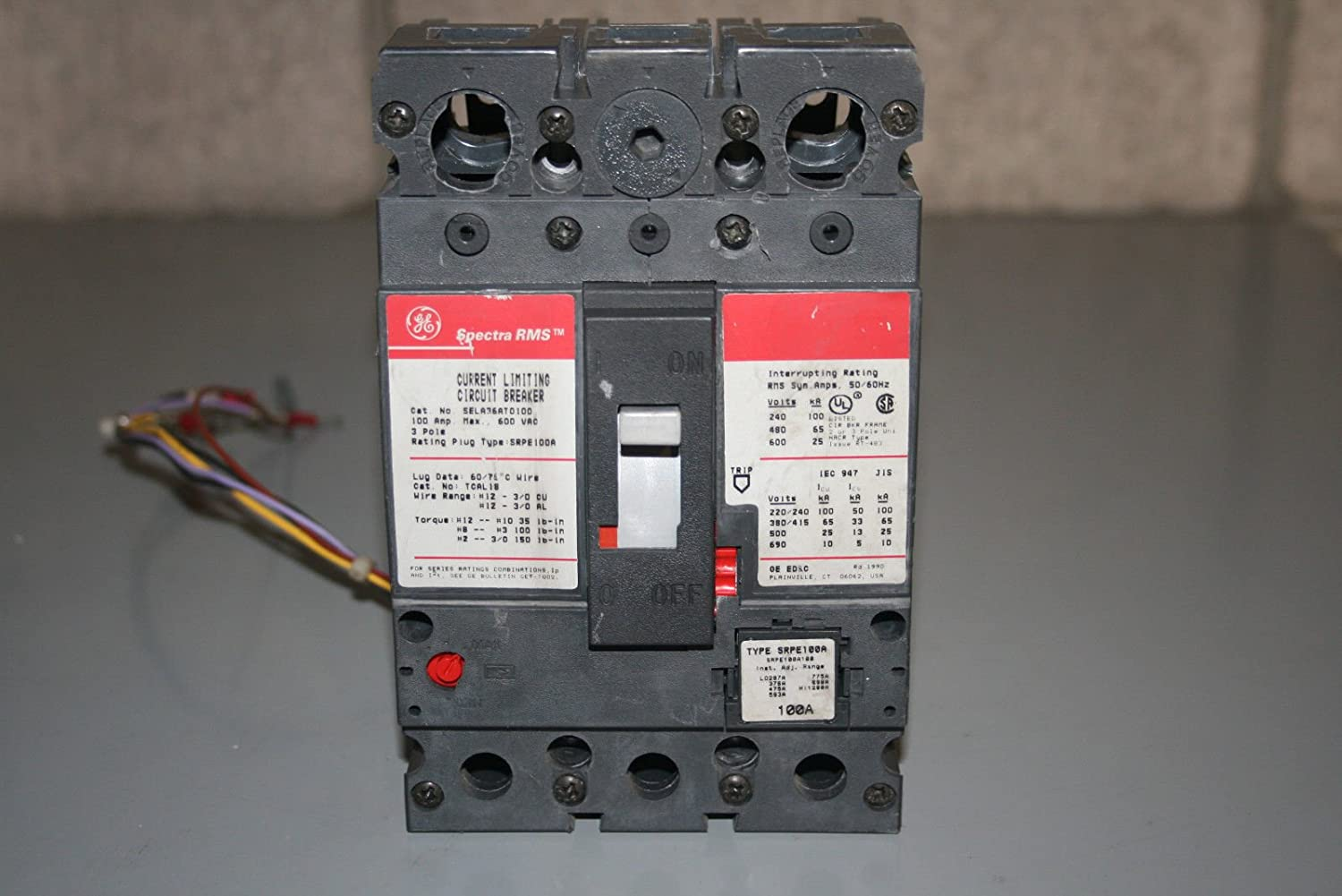 Ge Sel36at0100 Circuit Breaker With 120vshunt And Bell Alarm Arc Fault Interrupter Afci Industrial Solutions Scientific