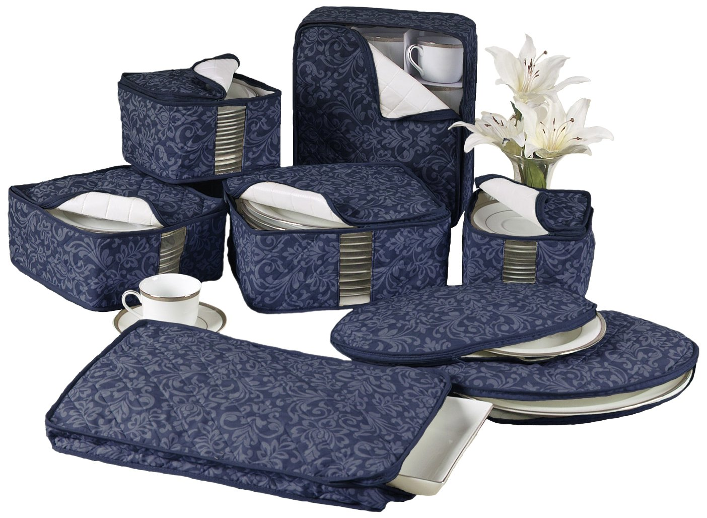 Amazon.com - Homewear 8-Piece HUDSON DAMASK China Storage ... : quilted dish storage - Adamdwight.com