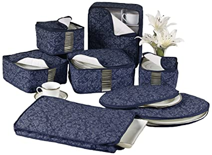 Homewear 8 Piece HUDSON DAMASK China Storage Container Set, Navy