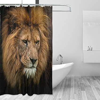 LORVIES Portrait Of King Lion Shower Curtain Set Polyester Fabric Water Repellant Bathroom