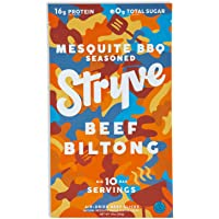 Stryve Biltong, Beef Jerky without the Junky. 16g Protein, Sugar Free, No Carbs, Gluten Free, No Nitrates, No MSG, No Preservatives. Keto and Paleo Friendly. Mesquite BBQ, 10oz