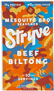 product image for Stryve Biltong, Beef Jerky without the Junky. 16g Protein, Sugar Free, No Carbs, Gluten Free, No Nitrates, No MSG, No Preservatives. Keto and Paleo Friendly. Mesquite BBQ, 10oz