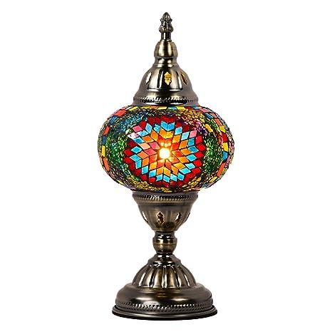 Amazon.com: Marrakech – Lámpara de mesa de cristal turco ...