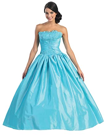 Ball Gown Strapless Formal Prom Dress #567 (4, Turquoise)