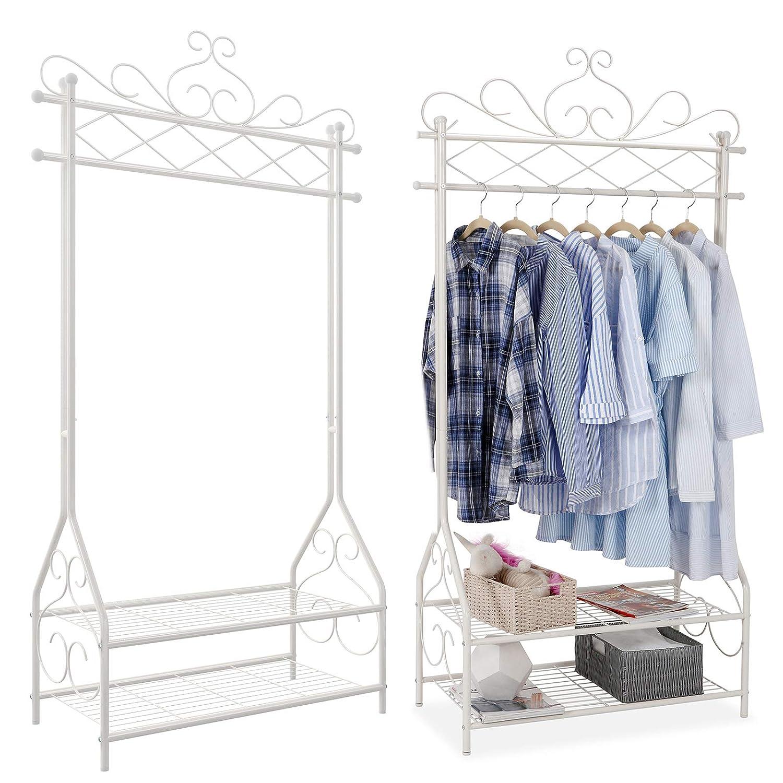 92 x 173 x 41 cm L x A x P Colore: Bianco Crema SONGMICS HSR07W Appendiabiti in Stile Vintage con Asta Appendiabiti e 2 mensole in Metallo
