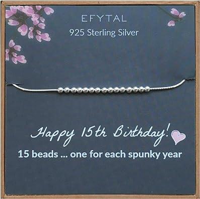 Amazon.com: EFYTAL - Pulsera de plata de ley 925 para 15 ...