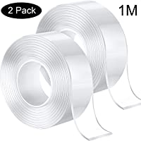 Double Side Adhesive Tape Silicone Tape Removable Transparent Tape Reusable Nano Tape for Home, Wall, Kitchen (1 m, 2 Pack)