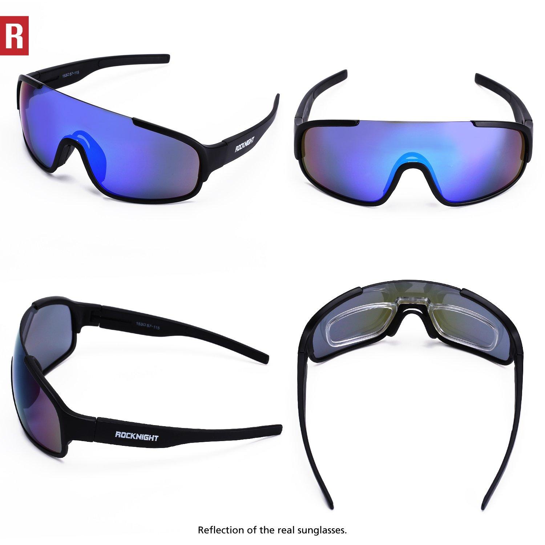 6c00ed3eb3 ROCKNIGHT REVO Sports Sunglasses for Men Women with 2 Interchangeable Lenses  Cycling Running Driving Baseball Glasses UV Protection Black Frame -  poc-black ...