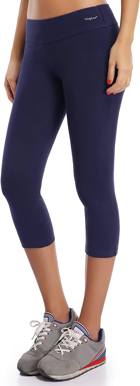 Wingslove Women Cotton Active Workout Athletic Capris Mid Rise Running Legging Yoga Pants