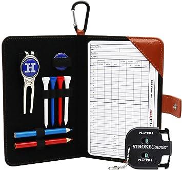 HandyPicks Funda de Cuero para Tarjetas de Puntuación de Golf, Acesorios Incluidos (1 Herramienta de Reparación de Divot, 2 Marcadores de Pelota, 4 ...
