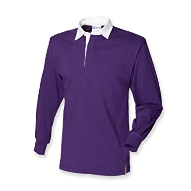 61464f10fb7 Front Row Long Sleeve Classic Rugby Shirt Deep Purple/White XL:  Amazon.co.uk: Clothing