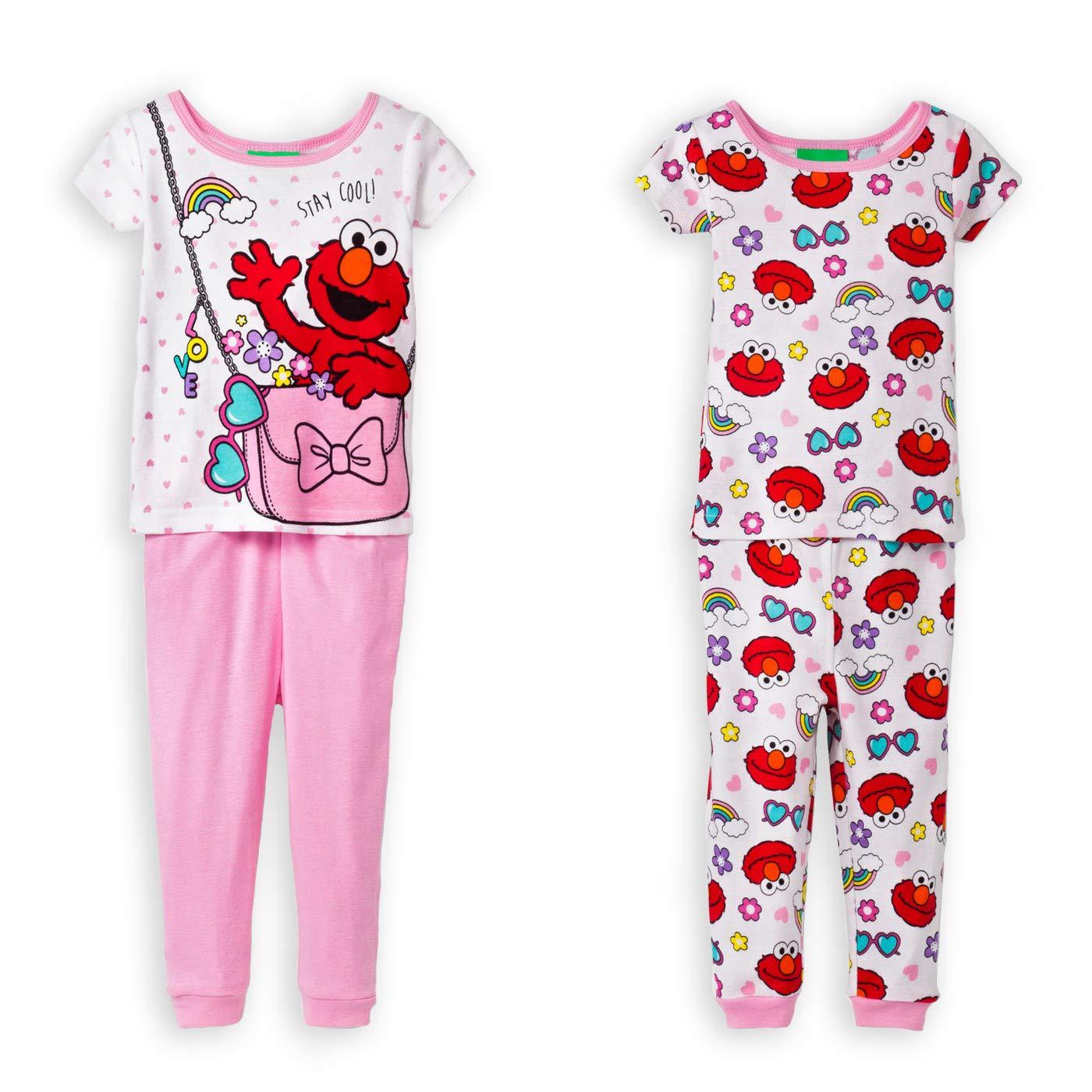 Sesame Street Elmo Stay Cool Girls 4-Piece Cotton Pajama Set SS247TSL4T